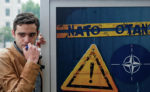 """Активист неправительственной организации """"Клуб молодых политологов"""" во время акции против вступления Грузии в НАТО"""