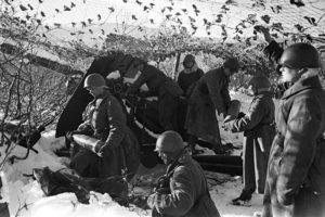 Артиллерийский расчет. Карельский фронт. 1941 год