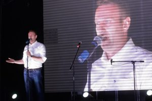Алексей Навальный во время выступления на оппозиционном митинге в Москве