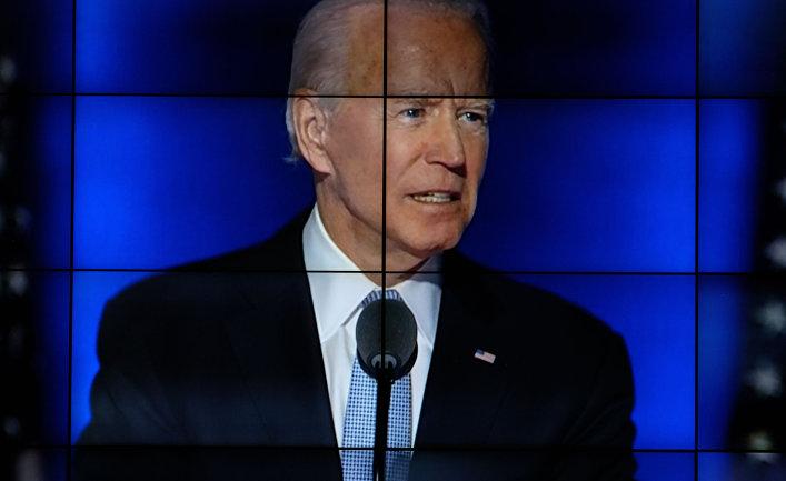 Трансляция обращения к американскому народу Джозефа Байдена, получившего большинство голосов на президентских выборах США