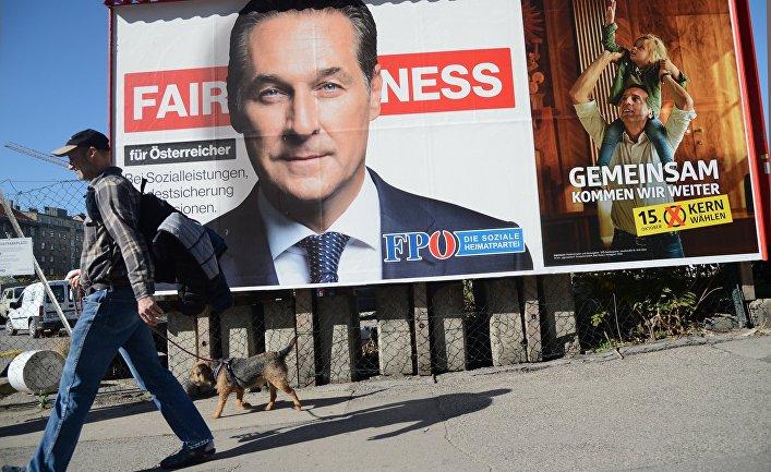 Агитационный плакат Партии свободы Австрии c портретом Ханса-Кристиана Штрахе на одной из улиц Вены